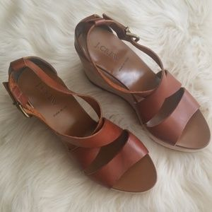 J.Crew Marguerite brown leather wedges Sz 9